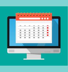 paper spiral wall calendar in computer vector image