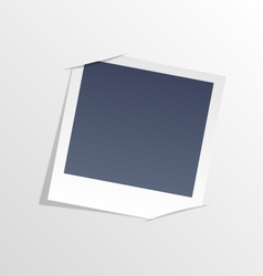 Photo frame inserted in slits of white sheet paper vector