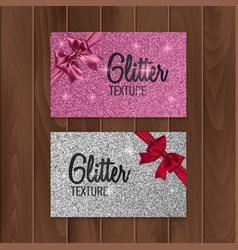 Pink glitter background with realistic bow vector