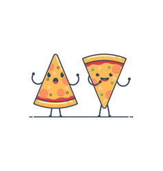 pizza characterspizza slices vector image