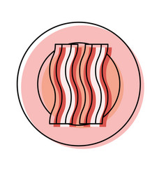 plate with bacon vector image