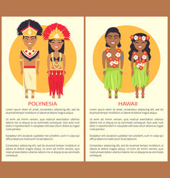 polynesian hawaii couple wearing traditional cloth vector image