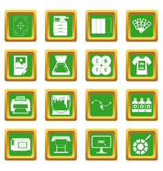 Printing icons set green vector