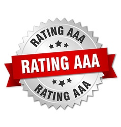 rating aaa 3d silver badge with red ribbon vector image