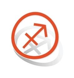Sagittarius sign sticker orange vector image