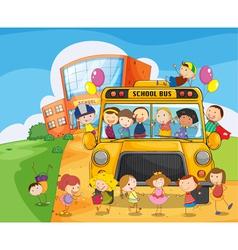 School bus kids vector image