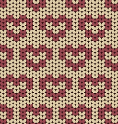 seamless knitted pattern with red hearts vector image