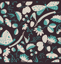 seamless pattern with butterflies ladybugs vector image