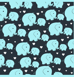 Seamless pattern with morher and baby elephant vector