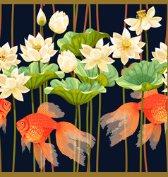 seamless pattern with white lotus and fish vector image