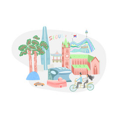 seoul city in south korea vector image