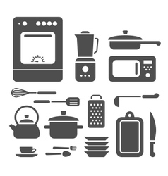 set cooking utensils vector image