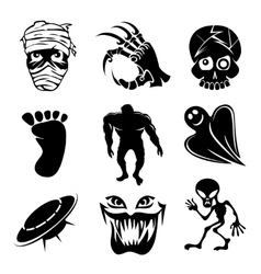 Set ghost ghouls and alien icons vector