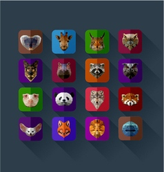 Set of animals in the style of origami abst vector