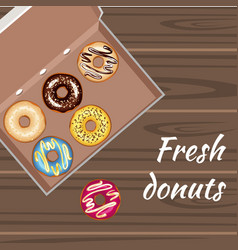 Set of colorful glazed donuts in a box vector