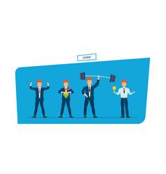 Set of leader businessman is superhero in vector