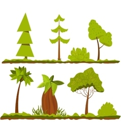 Set of stylized trees and bushes cartoon vector