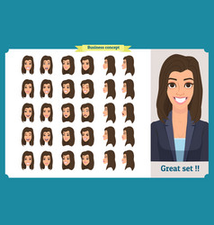 set of womans emotions design expression vector image