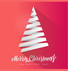 simple christmas tree made from white paper vector image