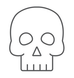 skull thin line icon halloween and horror bones vector image