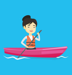 sportswoman riding in kayak vector image