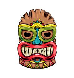 tiki island traditional mask with big vector image