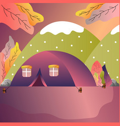tourist tent in forest camp outdoor adventure vector image