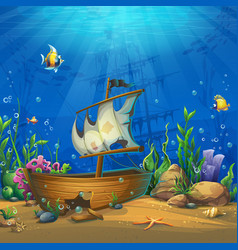 undersea world with ship vector image