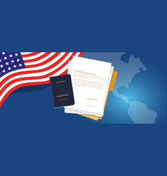 Visa application document or work student permit vector