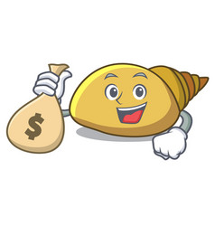 With money bag mollusk shell character cartoon vector