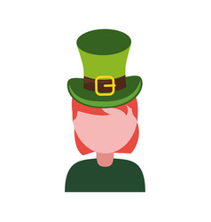 woman wearing leprechaun hat vector image