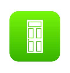 Wooden door with glass icon digital green vector
