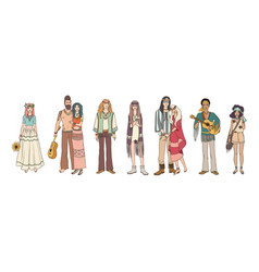 collection of young hippie men and women dressed vector image vector image