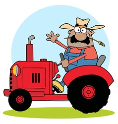 Hispanic Farmer Waving And Driving A Red Tractor vector image vector image