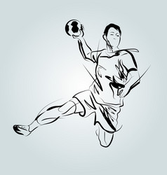line sketch of a handball player vector image vector image