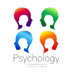 Modern head logo Set of Psychology Profile Human vector image