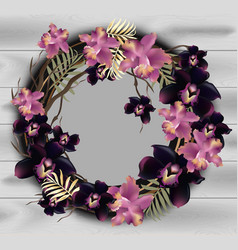 orchid flowers wreath frame on wood background vector image vector image