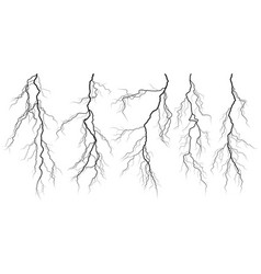set of silhouettes of thunderstorm lightning vector image