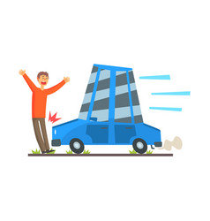the car knocks down a man car accident colorful vector image