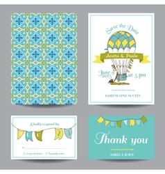 Wedding Invitation Card - Air Balloon Theme vector image vector image