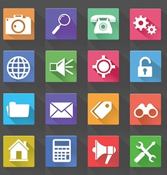 Application Web Icons Set in Flat Design with Long vector image