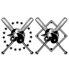 baseball helmet and crossed bats vector image vector image