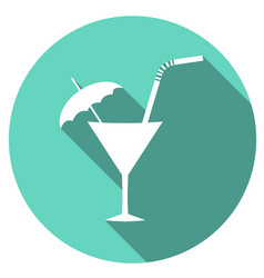 cocktail flat simple icon with long shadow vector image vector image