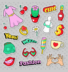 fashion girls badges patches stickers vector image vector image