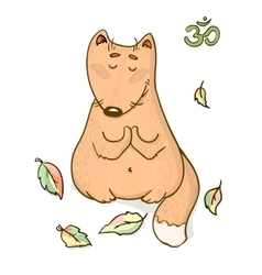 funny animal yoga cartoon design vector image vector image