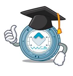 Graduation waves coin character cartoon vector