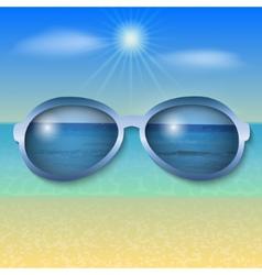 sunny sea beach with sun glasses vector image