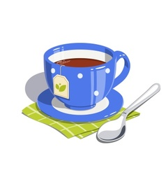 Tea cup and spoon vector image vector image