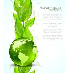 Background with globe end leaves vector image