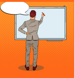 businessman drawing on the whiteboard pop art vector image